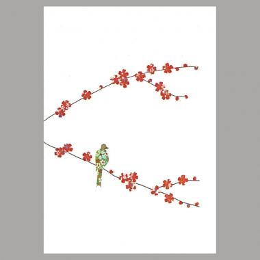 Grusskarte Blüte und Vogel