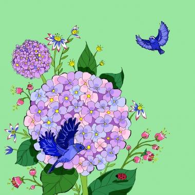 Grusskarte Hortensie
