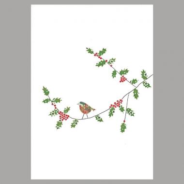 Weihnachtskarte Vogel auf Ast