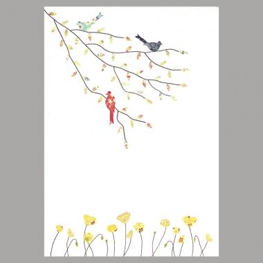 Grusskarte Drei Vögel und Mohnblumen