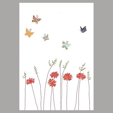 Grusskarte Gänseblümchen und Schmetterlinge