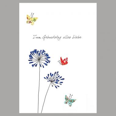 Doppelkarte Blumen mit Schmitterlingen