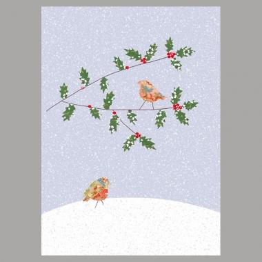 Weihnachtskarte Rotkehlchen unter Zweig