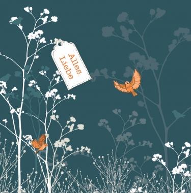 Glückwunschkarte Alles Liebe Vögel