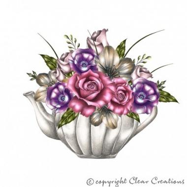 Grusskarte Teekanne mit Blumen