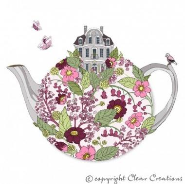 Grusskarte Teekanne mit Haus