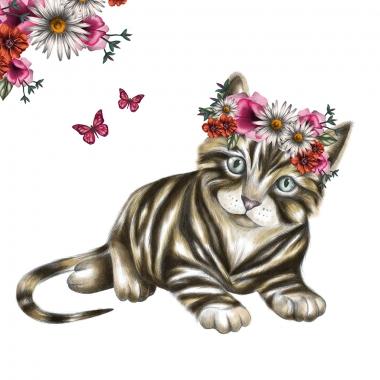 Grusskarte Katze mit Blumen
