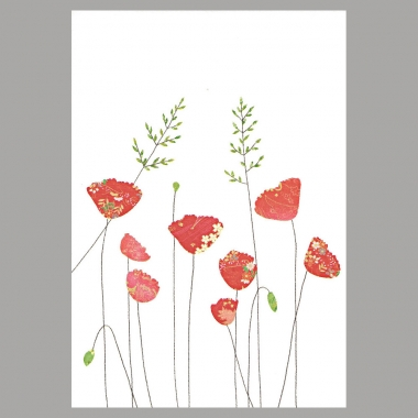 Doppelkarte Mohnblumen mit Gras