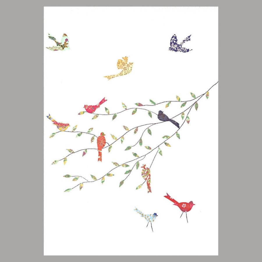 grusskarte vögel auf dem ast