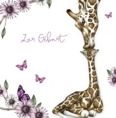Glückwunschkarte Giraffe Mädchen