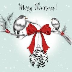 Weihnachtskarte Kugel mit Schleife