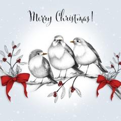 Weihnachtskarte Drei Vögel
