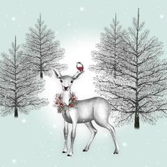 Weihnachtskarte Reh im Wald