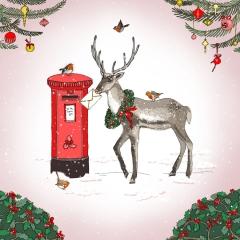 Weihnachtskarte Hirsch mit Brief