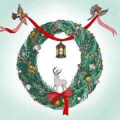 Weihnachtskarte Kranz mit Hirsch