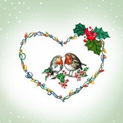 Weihnachtskarte Vögel in Herz