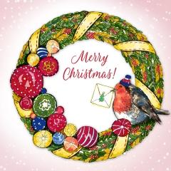 Weihnachtskarte Kranz mit Schrift