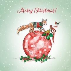 Weihnachtskarte Fuchs auf Kugel