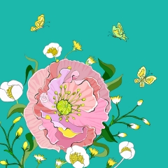 Grusskarte Rosa Mohnblume