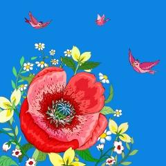 Grusskarte Rote Mohnblume