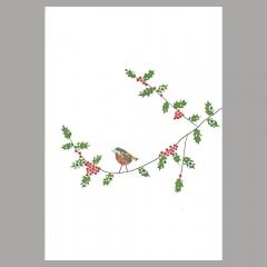 Weihnachtskarte Vogel unter Mistelzweig