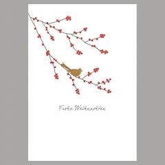 Weihnachtskarte Winterbeeren und Vogel