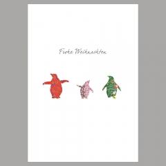 Weihnachtskarte Drei Pinguine
