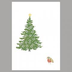 Weihnachtskarte Vogel am Weihnachtsbaum