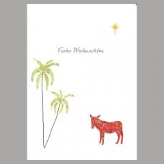 Weihnachtskarte Esel