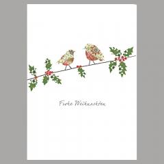 Weihnachtskarte Zwei Vögel auf Ast