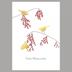 Weihnachtskarte Vögel mit Beeren