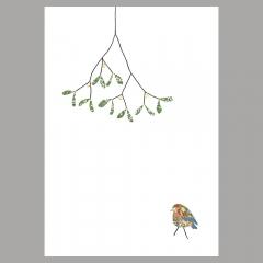 Weihnachtskarte Robin under Mistletoe