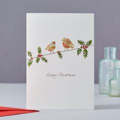 Weihnachtskarte Two Robins