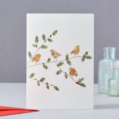 Weihnachtskarte Four Robins