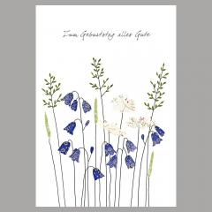 Doppelkarte Glockenblume mit Gänseblümchen