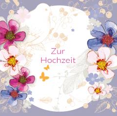 Hochzeitskarte Lila Blumen
