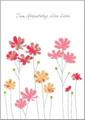 Glückwunschkarte Blumen in Rosa