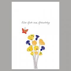 Doppelkarte Blumen mit Schmetterling