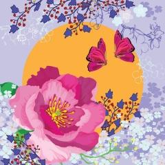 Doppelkarte Blume und Schmetterling