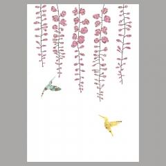 GrusskarteWisteria und Schmetterlinge