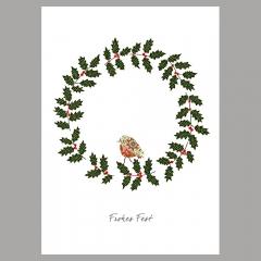 Weihnachtskarte Kranz mit Vogel