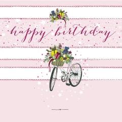 Glückwunschkarte Fahrrad mit Geschenken