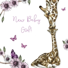 Glückwunschkarte Giraffe / New Baby Girl