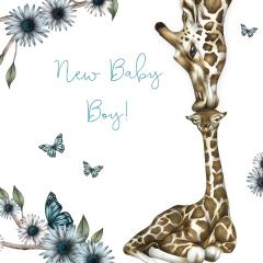 Glückwunschkarte Giraffe New Baby Boy