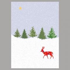 Weihnachtskarte Reh am Wald