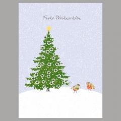 Weihnachtskarte Gezwitscher am Baum