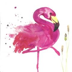 Doppelkarte Flamingo