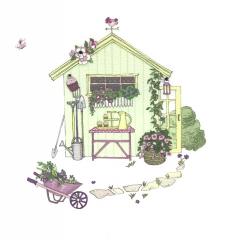 Doppelkarte Gartenhaus