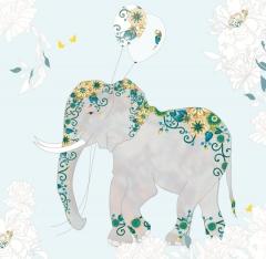Glückwunschkarte Blauer Elefant