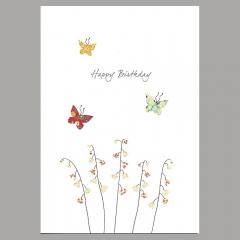 Doppelkarte Maiglöckchen und Schmetterlinge